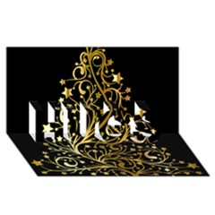 Decorative Starry Christmas Tree Black Gold Elegant Stylish Chic Golden Stars Hugs 3d Greeting Card (8x4) by yoursparklingshop