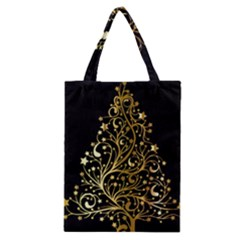 Decorative Starry Christmas Tree Black Gold Elegant Stylish Chic Golden Stars Classic Tote Bag by yoursparklingshop