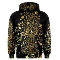Decorative Starry Christmas Tree Black Gold Elegant Stylish Chic Golden Stars Men s Pullover Hoodie by yoursparklingshop