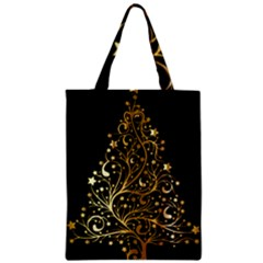Decorative Starry Christmas Tree Black Gold Elegant Stylish Chic Golden Stars Zipper Classic Tote Bag by yoursparklingshop