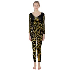 Decorative Starry Christmas Tree Black Gold Elegant Stylish Chic Golden Stars Long Sleeve Catsuit by yoursparklingshop