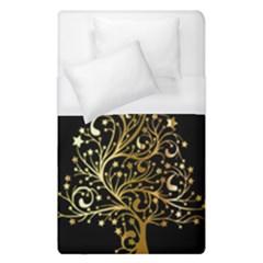 Decorative Starry Christmas Tree Black Gold Elegant Stylish Chic Golden Stars Duvet Cover Single Side (Single Size) by yoursparklingshop