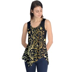 Decorative Starry Christmas Tree Black Gold Elegant Stylish Chic Golden Stars Sleeveless Tunic by yoursparklingshop