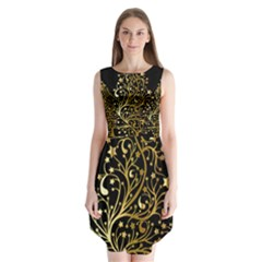 Decorative Starry Christmas Tree Black Gold Elegant Stylish Chic Golden Stars Sleeveless Chiffon Dress   by yoursparklingshop
