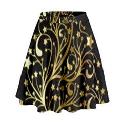 Decorative Starry Christmas Tree Black Gold Elegant Stylish Chic Golden Stars High Waist Skirt by yoursparklingshop