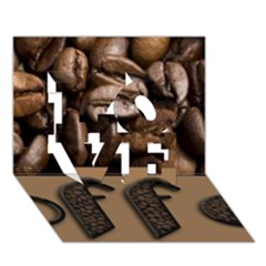 Funny Coffee Beans Brown Typography Love 3d Greeting Card (7x5) by yoursparklingshop