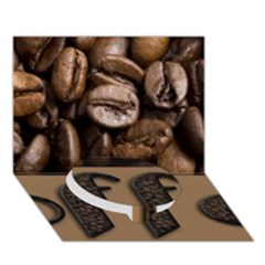 Funny Coffee Beans Brown Typography Circle Bottom 3d Greeting Card (7x5) by yoursparklingshop