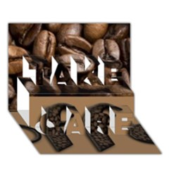 Funny Coffee Beans Brown Typography Take Care 3d Greeting Card (7x5) by yoursparklingshop
