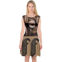 Funny Coffee Beans Brown Typography Capsleeve Midi Dress