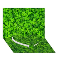 Shamrock Clovers Green Irish St  Patrick Ireland Good Luck Symbol 8000 Sv Heart Bottom 3d Greeting Card (7x5) by yoursparklingshop