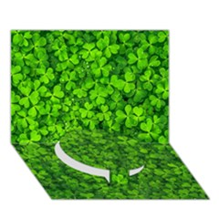 Shamrock Clovers Green Irish St  Patrick Ireland Good Luck Symbol 8000 Sv Circle Bottom 3d Greeting Card (7x5) by yoursparklingshop