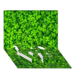 Shamrock Clovers Green Irish St  Patrick Ireland Good Luck Symbol 8000 Sv Love Bottom 3d Greeting Card (7x5) by yoursparklingshop