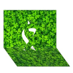 Shamrock Clovers Green Irish St  Patrick Ireland Good Luck Symbol 8000 Sv Ribbon 3d Greeting Card (7x5) by yoursparklingshop