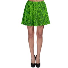 Shamrock Clovers Green Irish St  Patrick Ireland Good Luck Symbol 8000 Sv Skater Skirt by yoursparklingshop