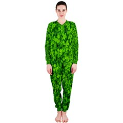 Shamrock Clovers Green Irish St  Patrick Ireland Good Luck Symbol 8000 Sv Onepiece Jumpsuit (ladies)  by yoursparklingshop