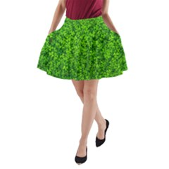 Shamrock Clovers Green Irish St  Patrick Ireland Good Luck Symbol 8000 Sv A Line Pocket Skirt by yoursparklingshop