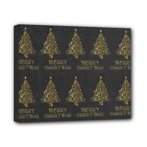 Merry Christmas Tree Typography Black And Gold Festive Canvas 10  X 8  by yoursparklingshop
