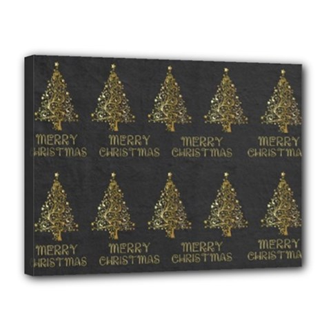 Merry Christmas Tree Typography Black And Gold Festive Canvas 16  X 12  by yoursparklingshop
