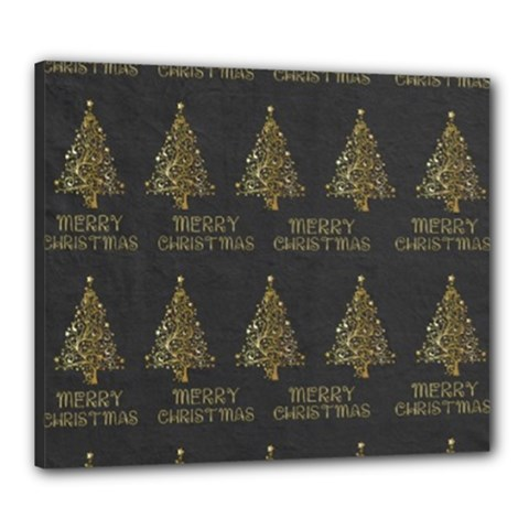 Merry Christmas Tree Typography Black And Gold Festive Canvas 24  X 20  by yoursparklingshop