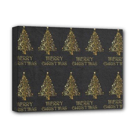Merry Christmas Tree Typography Black And Gold Festive Deluxe Canvas 16  X 12   by yoursparklingshop