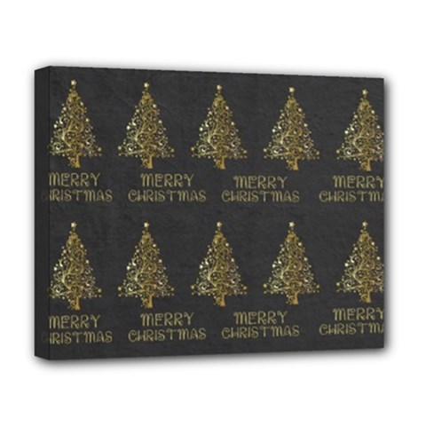 Merry Christmas Tree Typography Black And Gold Festive Deluxe Canvas 20  X 16   by yoursparklingshop