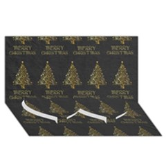 Merry Christmas Tree Typography Black And Gold Festive Twin Heart Bottom 3d Greeting Card (8x4) by yoursparklingshop