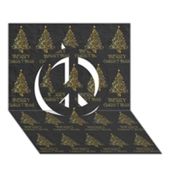 Merry Christmas Tree Typography Black And Gold Festive Peace Sign 3d Greeting Card (7x5) by yoursparklingshop