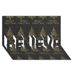 Merry Christmas Tree Typography Black And Gold Festive Believe 3d Greeting Card (8x4) by yoursparklingshop