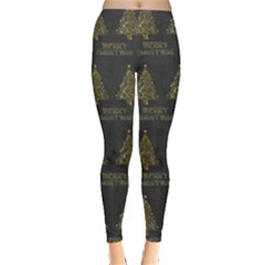 Merry Christmas Tree Typography Black And Gold Festive Leggings  by yoursparklingshop