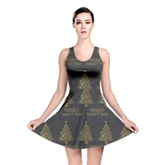 Merry Christmas Tree Typography Black And Gold Festive Reversible Skater Dress by yoursparklingshop