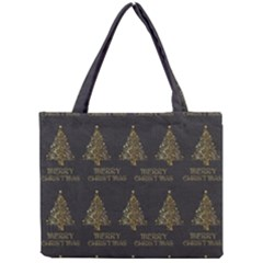 Merry Christmas Tree Typography Black And Gold Festive Mini Tote Bag by yoursparklingshop
