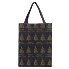 Merry Christmas Tree Typography Black And Gold Festive Classic Tote Bag by yoursparklingshop