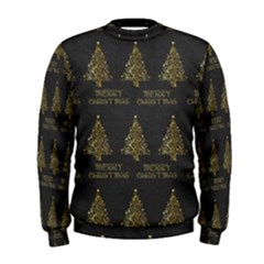 Merry Christmas Tree Typography Black And Gold Festive Men s Sweatshirt by yoursparklingshop