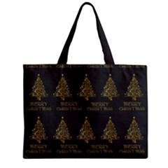 Merry Christmas Tree Typography Black And Gold Festive Zipper Mini Tote Bag by yoursparklingshop