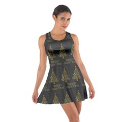 Merry Christmas Tree Typography Black And Gold Festive Cotton Racerback Dress by yoursparklingshop