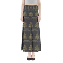 Merry Christmas Tree Typography Black And Gold Festive Maxi Skirts by yoursparklingshop