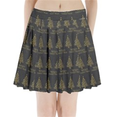 Merry Christmas Tree Typography Black And Gold Festive Pleated Mini Skirt by yoursparklingshop