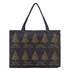 Merry Christmas Tree Typography Black And Gold Festive Medium Tote Bag by yoursparklingshop