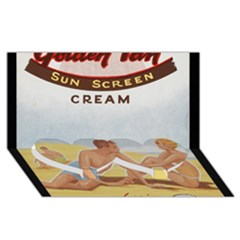 Vintage Summer Sunscreen Advertisement Twin Heart Bottom 3d Greeting Card (8x4) by yoursparklingshop