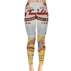 Vintage Summer Sunscreen Advertisement Leggings  by yoursparklingshop