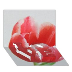 Red Tulip Watercolor Painting Love Bottom 3d Greeting Card (7x5) by picsaspassion