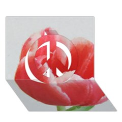 Red Tulip Watercolor Painting Peace Sign 3d Greeting Card (7x5) by picsaspassion