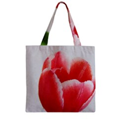 Red Tulip Watercolor Painting Zipper Grocery Tote Bag by picsaspassion