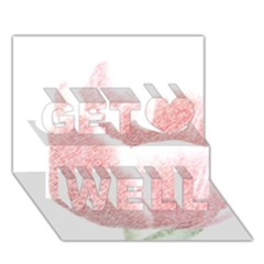Red Tulip Pencil Drawing Get Well 3d Greeting Card (7x5) by picsaspassion