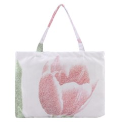 Red Tulip Pencil Drawing Medium Zipper Tote Bag by picsaspassion