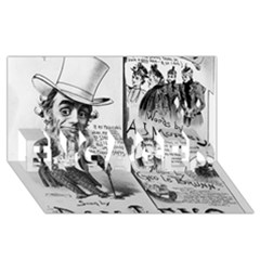 Vintage Song Sheet Lyrics Black White Typography Engaged 3d Greeting Card (8x4) by yoursparklingshop
