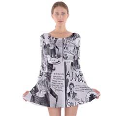 Vintage Song Sheet Lyrics Black White Typography Long Sleeve Velvet Skater Dress by yoursparklingshop