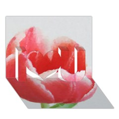 Tulip Red Watercolor Painting I Love You 3d Greeting Card (7x5)