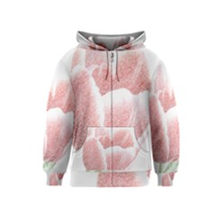Tulip red pencil drawing art Kids  Zipper Hoodie by picsaspassion