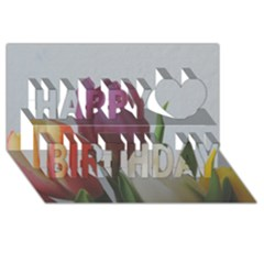 Tulips Happy Birthday 3d Greeting Card (8x4) by picsaspassion
